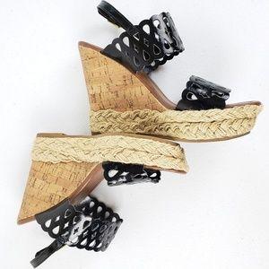 Montego Bay Club Shoes - Montego Bay Club Black Cork Wedge Sandals